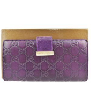 Authentic GUCCI Logo GG Pattern Guccissima Long Bifold Wallet Purse Leather Purp